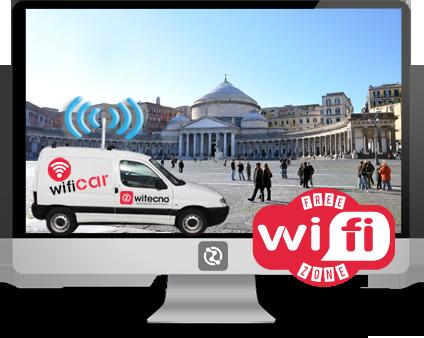 Noleggio Wifi Car Witecno itinerante per promuovere il tuo evento, concerto e festa in Wifi Free Zone!